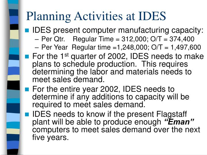 Planning Activities at IDES