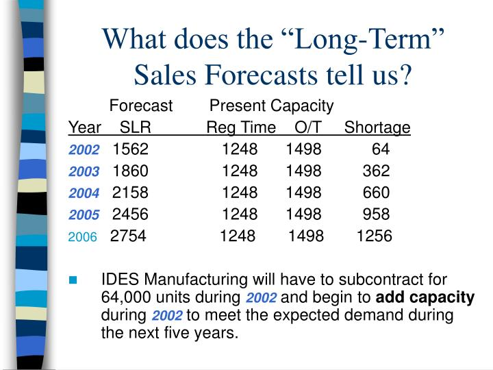 "What does the ""Long-Term"" Sales Forecasts tell us?"