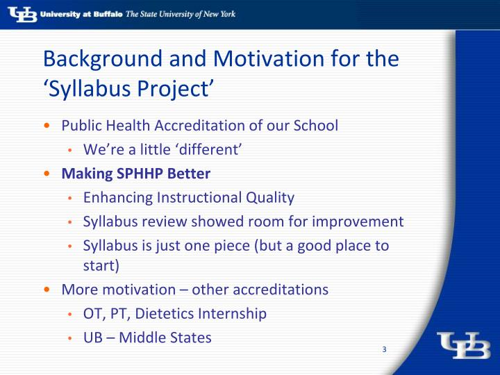 Background and motivation for the syllabus project