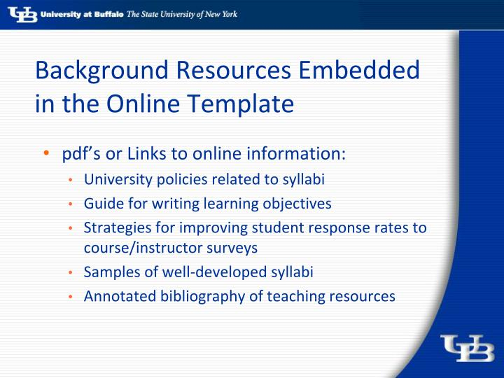 Background Resources Embedded in the Online Template