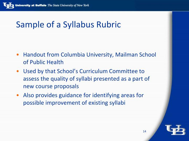 Sample of a Syllabus Rubric