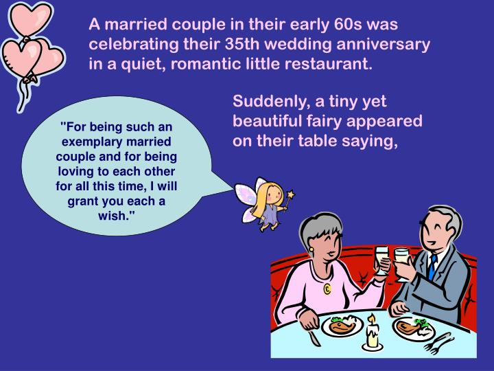 A married couple in their early 60s was celebrating their 35th wedding anniversary in a quiet, roman...