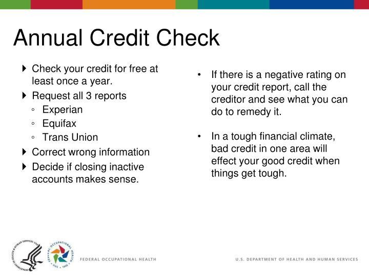 Annual Credit Check