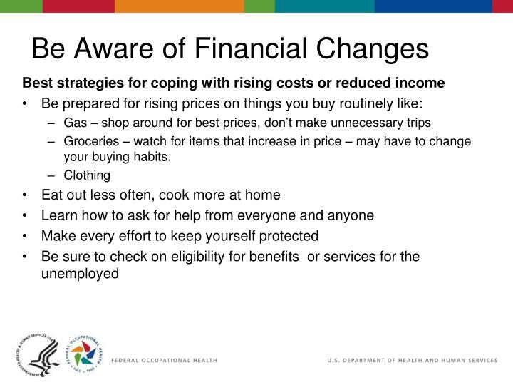 Best strategies for coping with rising costs or reduced income