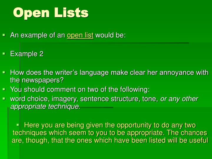 Open Lists
