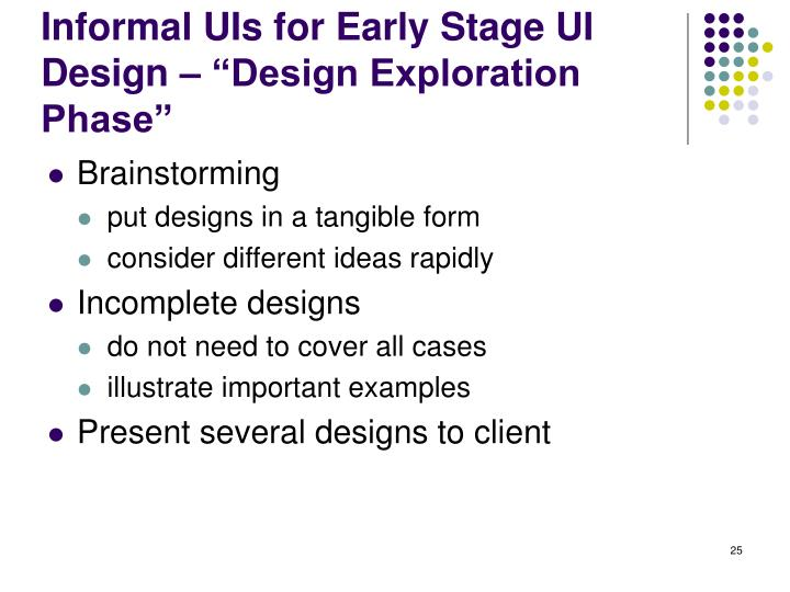"Informal UIs for Early Stage UI Design – ""Design Exploration Phase"""