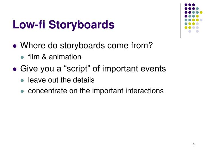 Low-fi Storyboards