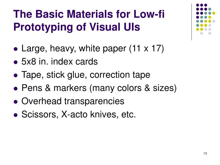 The Basic Materials for Low-fi Prototyping of Visual UIs