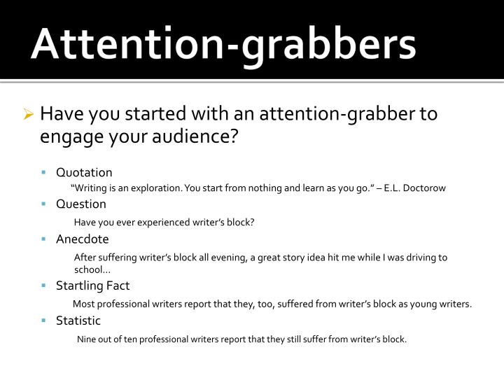 attention grabbers for presentations