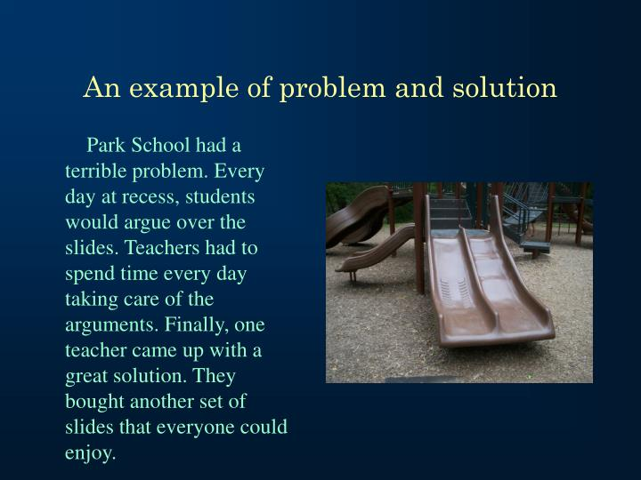 An example of problem and solution