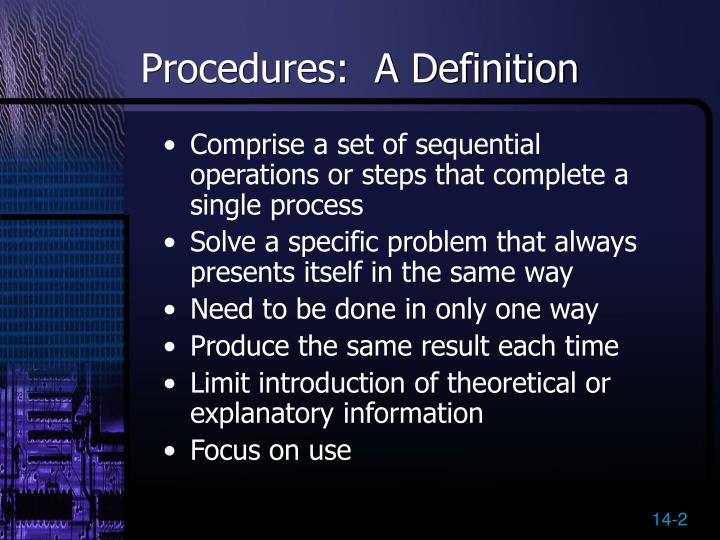 Procedures a definition