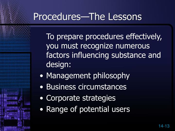 Procedures—The Lessons