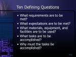ten defining questions