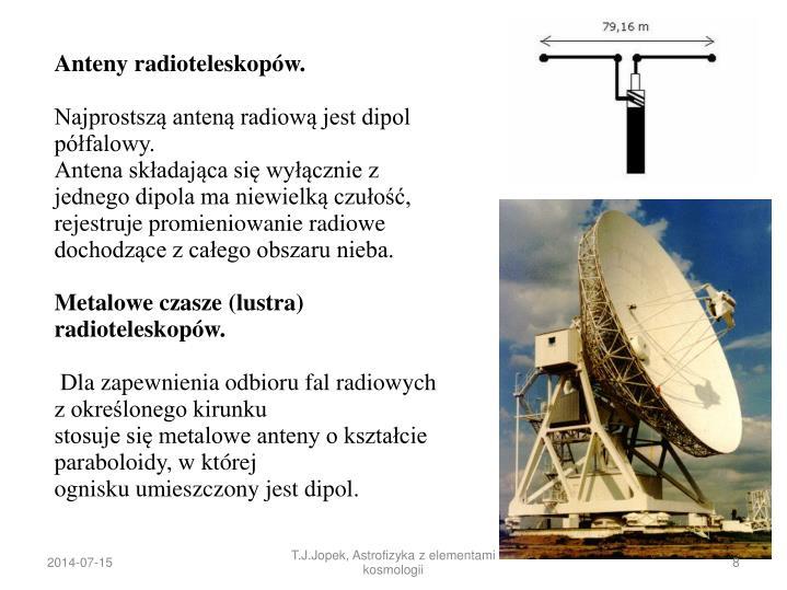 Anteny radioteleskopów.