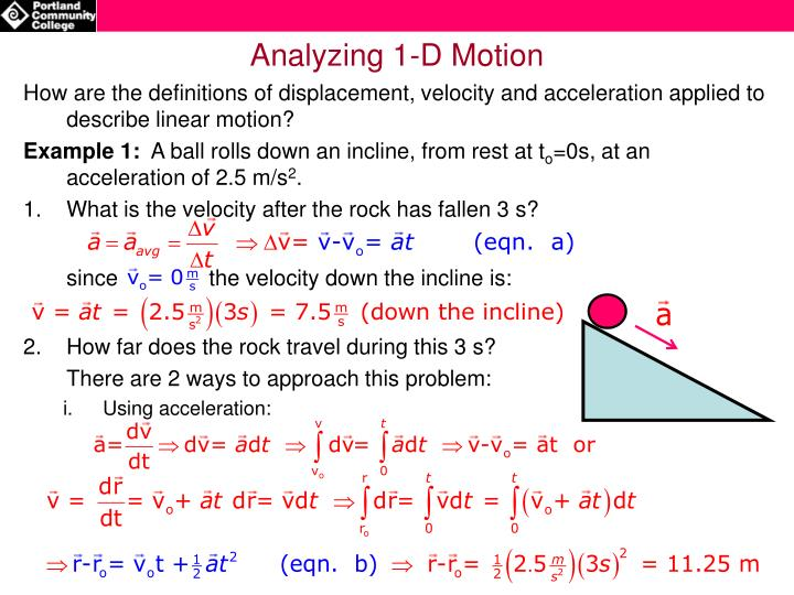 Analyzing 1-D Motion