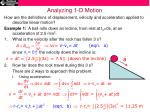 analyzing 1 d motion