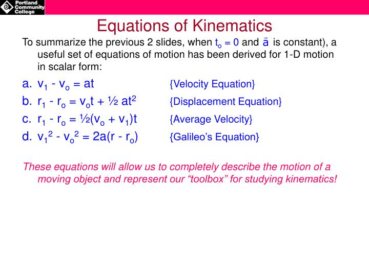 Equations of Kinematics