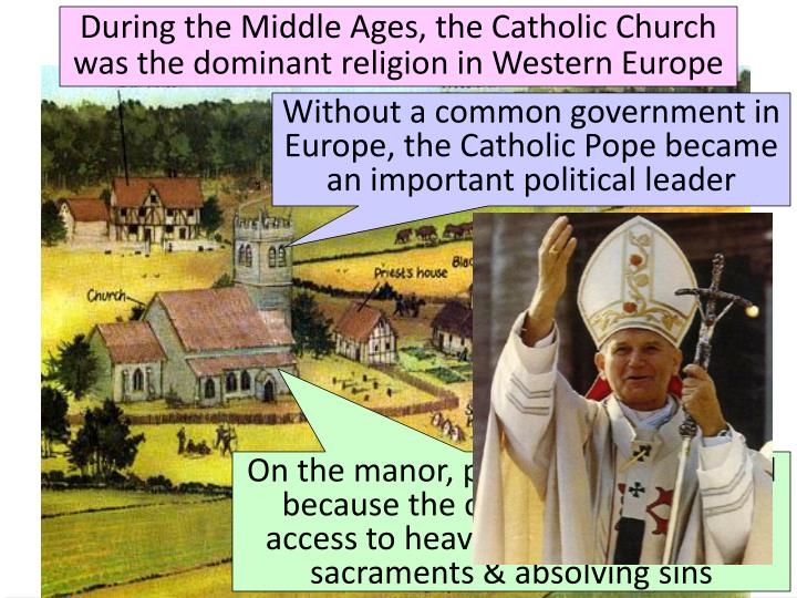 During the Middle Ages, the Catholic Church was the dominant religion in Western Europe