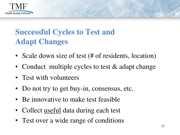 Successful Cycles to Test and