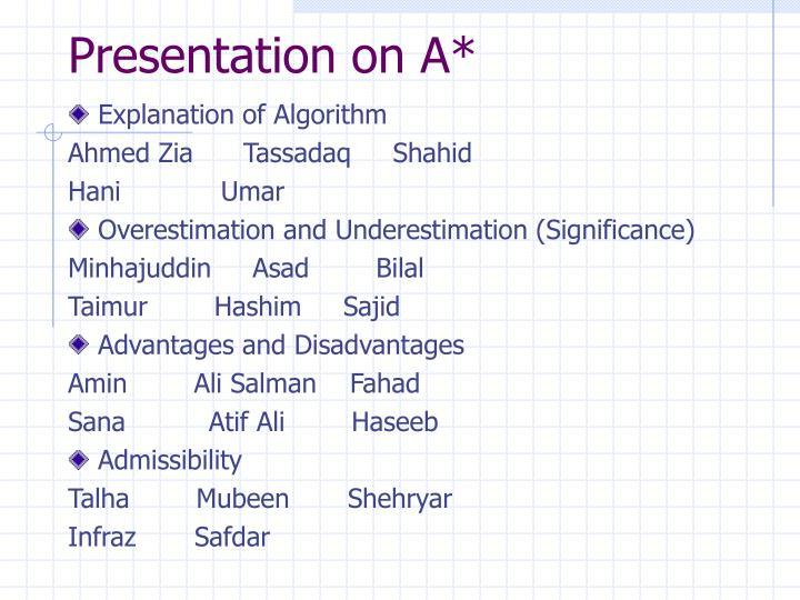 Presentation on A*