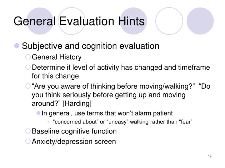 General Evaluation Hints