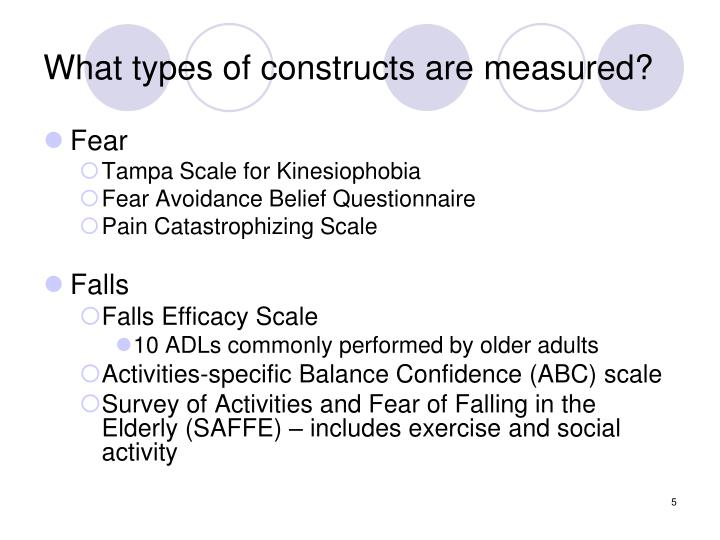 What types of constructs are measured?