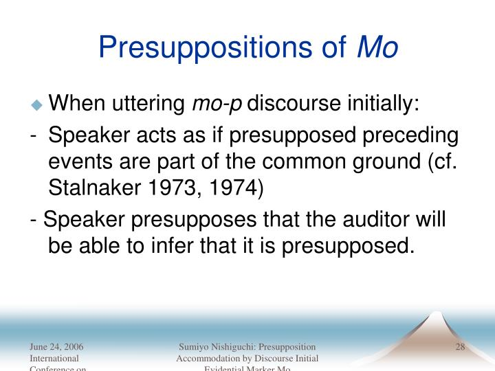 Presuppositions of