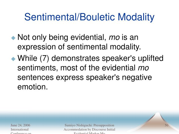 Sentimental/Bouletic Modality