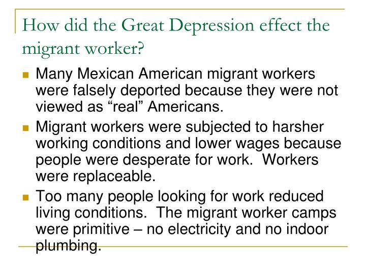 How did the Great Depression effect the migrant worker?