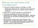 what were the main features of the great depression