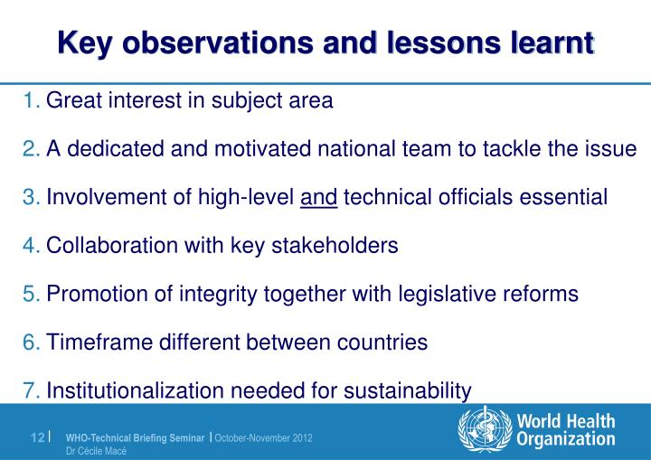 Key observations and lessons learnt