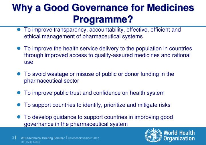 Why a good governance for medicines programme