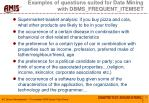 examples of questions suited for data mining with dbms frequent itemset