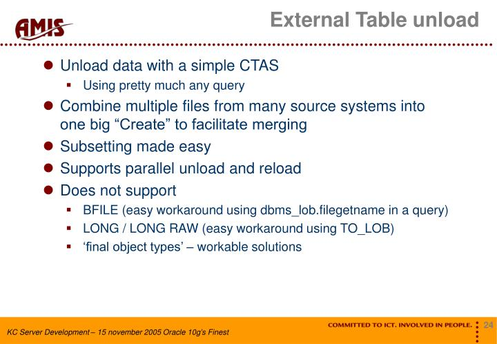 External Table unload