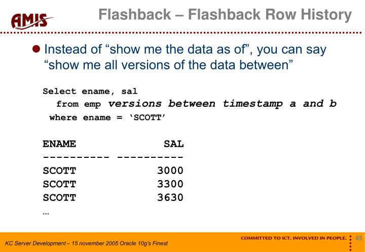 Flashback – Flashback Row History