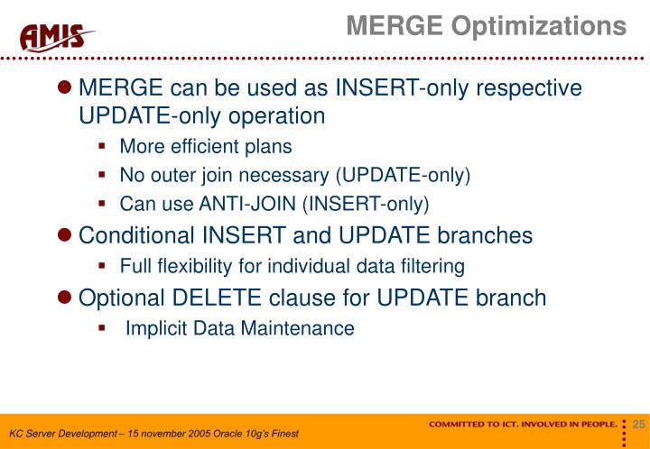 MERGE Optimizations