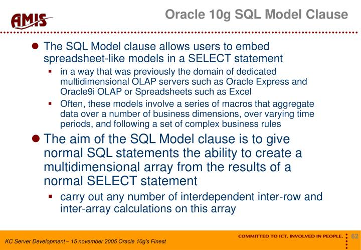 Oracle 10g SQL Model Clause