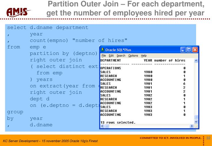 Partition Outer Join – For each department,