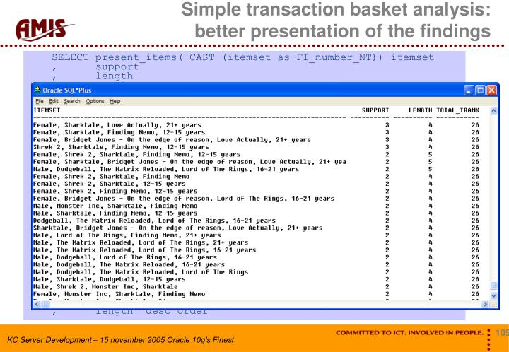 Simple transaction basket analysis: