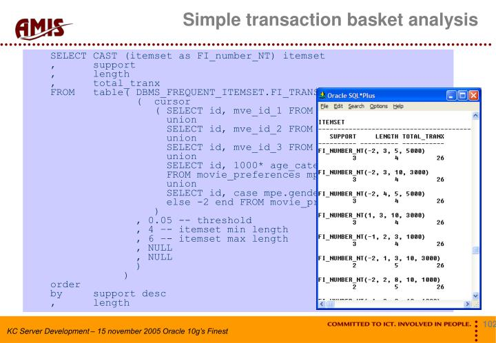 Simple transaction basket analysis