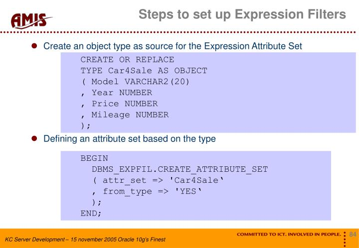 Steps to set up Expression Filters