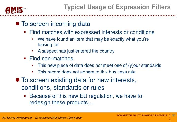 Typical Usage of Expression Filters