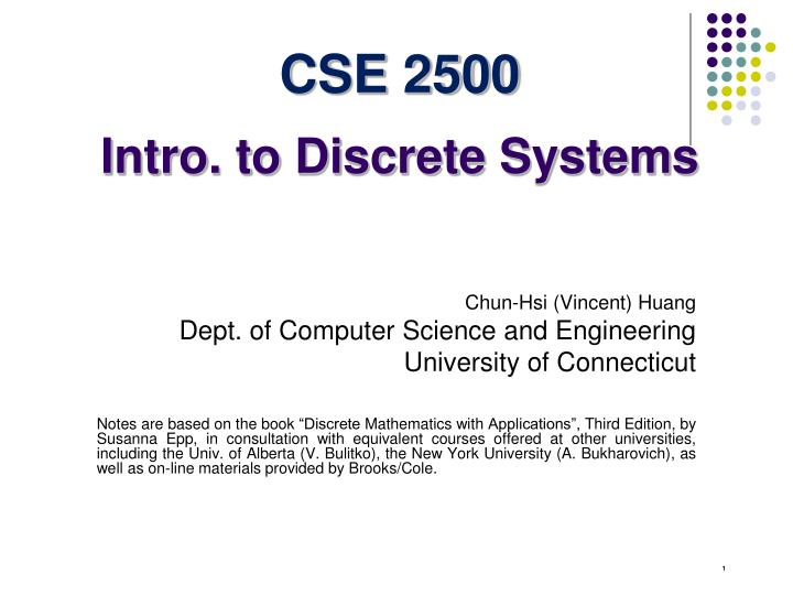 Cse 2500 intro to discrete systems