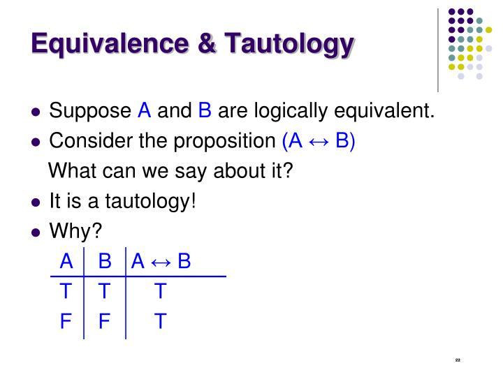 Equivalence & Tautology