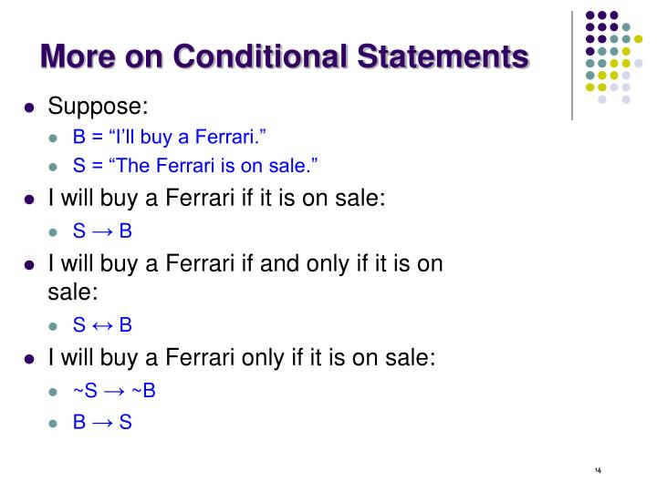 More on Conditional Statements