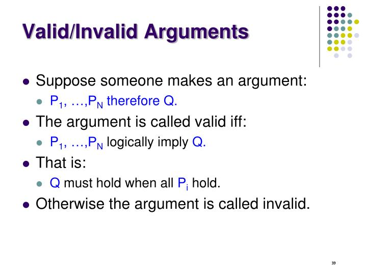 Valid/Invalid Arguments