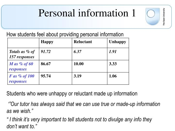 Personal information 1