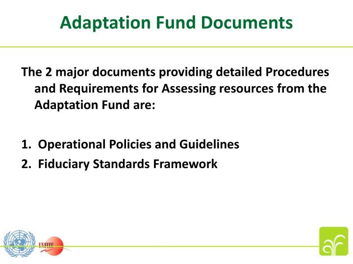 Adaptation Fund Documents