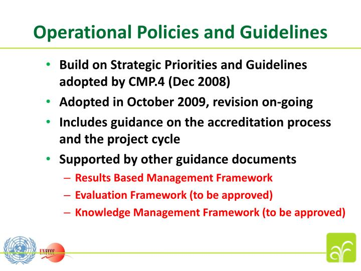 Operational Policies and Guidelines