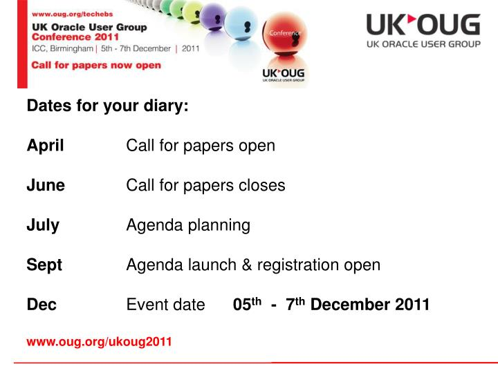 Dates for your diary: